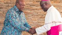 Former president Mahama and Most Rev. John Bonaventure Kwofie,  Metropolitan Archbishop of Accra Arc
