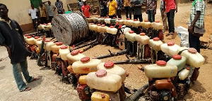 The repaired motorised cocoa spraying solo machines for farmers within the District