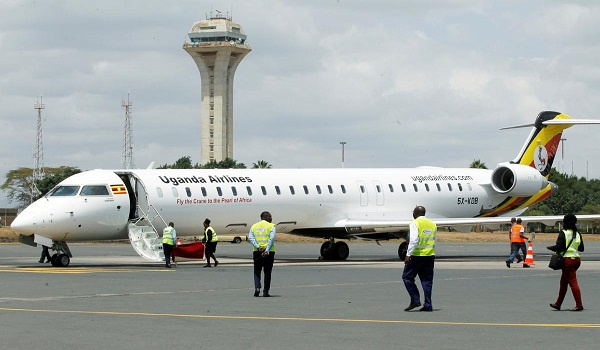 A Ugandan Airlines plane on the tarmac