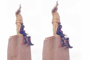 Dr Think Twice, faked a suicide attempt by threatening to jump off the Obetsebi Lamptey statue