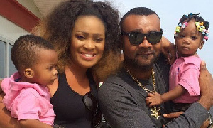Nollywood actor Prince Eke with his wife and kids