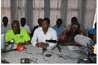 Photos of representatives of CSOs during the press conference