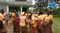 Some final year students celebrating after completion of the BECE