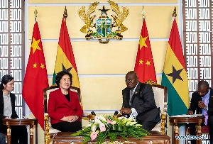 President Nana Akufo-Addo (2nd R) meets with visiting Chinese Vice Premier Sun Chunlan in Accra