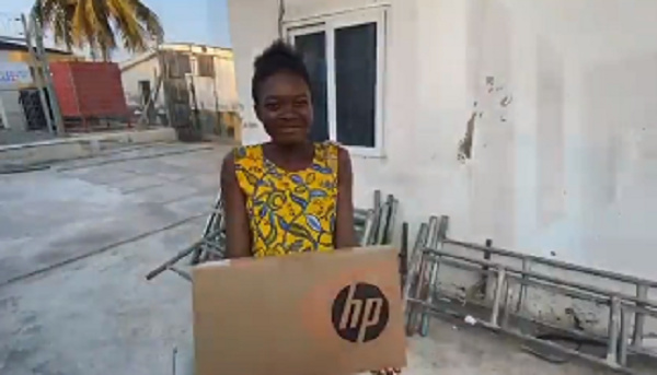 A beneficiary sharing how important the laptop is to her education