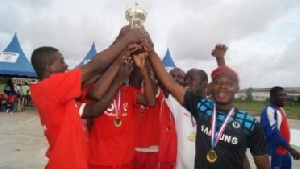 Volta Region showing the trophy they won