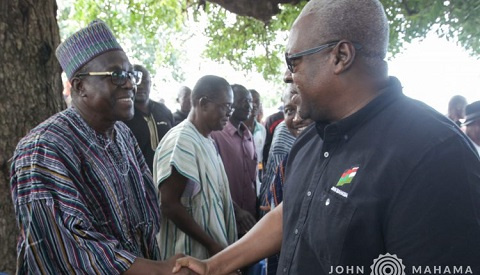 Former President John Mahama in a handshake with Second Deputy Speaker of Parliament Alban Bagbin