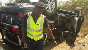 The vehicle which was part of the convoy journeying to Tamale somersaulted