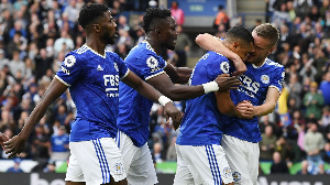 Amartey (second left) joins his mates to celebrate