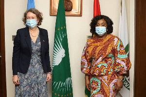 The outgoing Ambassador Tove Dengbel with the Foreign Affairs Minister, Shirley Ayorkor Botchwey