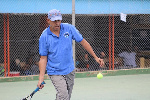 Andy Daniels in action for Tesano Tennis Club