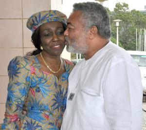 Former President John Rawlings and wife, Nana Konadu