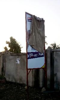 The signboard of Carlos Ahenkorah and AKufo-Addo at Ibaadu Rahman Islamic school B polling station.