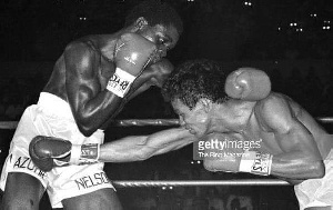 Azumah dominated from the start as he pursued and attacked in the early rounds
