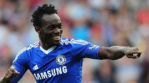 Micheal Essien in jubilant mood after scoring