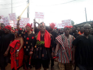 Members of Akyem Abuakwa traditional council during their demonstration against the NDC
