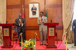 President Akufo-Addo and President Obiang Mbasogo after their joint press conference