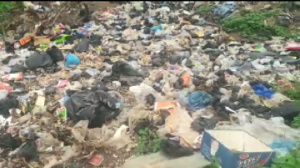 Polythene bags filled with faeces are usually deposited at the dumping site