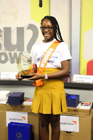12-year-old, Neriah Tettey was crowned winner of the sanitation challenge