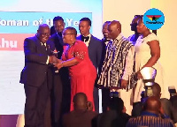 President Akufo-Addo presented Mrs Bella Ahu with the award as Chamber Business Woman of the year