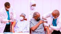 President Buhari (left) and im VP Osinbajo as dem dey receive dia COVID-19 vaccines