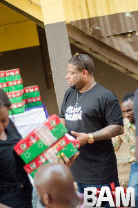 D Black and some of his team at Rising Star Orphanage Home in Dodowa