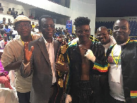GBA boss lawyer zwennes (L) amb. Quarcoo pose with 'Octopus' Dzanie after the Banku-Bastie fight
