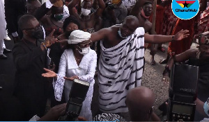 Former First Lady Mrs. Konadu Agyemang Rawlings dancing at the funeral of her mother-in-law