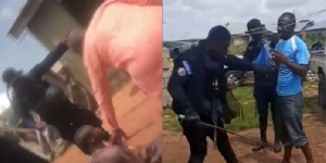 Screengrab of police assualting residents