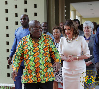 President Akufo-Addo with the US Congress Speaker Nancy Pelosi at the Jubilee House