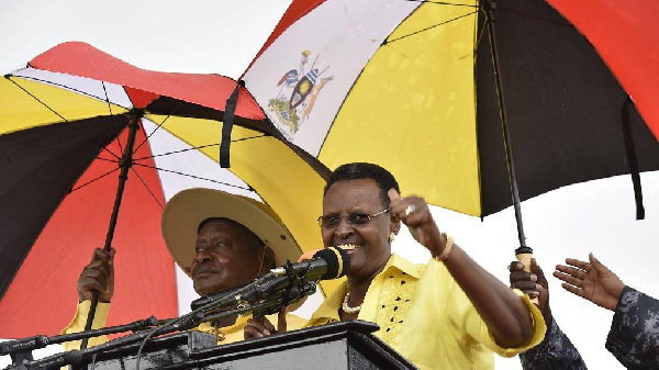 Janet with husband Yoweri Museveni during a campaign rally