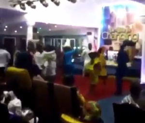 The church members dancing to Stonebwoy's song