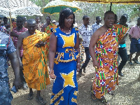 Eastern regional minister Mavis Ama Frimpong touring project sites with the chiefs