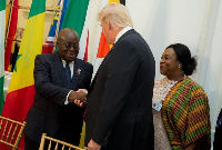 President Akufo-Addo and President Trump shaking hands during a 2017 meeting at the White House