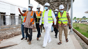 Dr K.K. Sarpong with officials of the Ghana COVID-19 Private Sector Fund