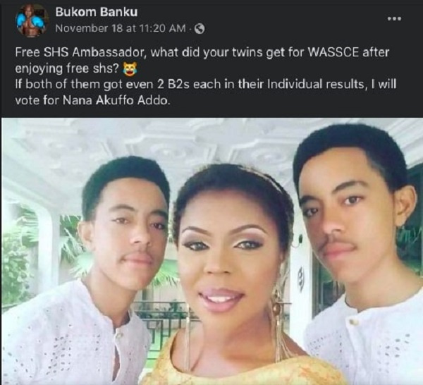 Show your sons WASSCE results if Free SHS is good - Bukom Banku jabs Afia Schwarzenegger