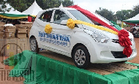 The car was donated by Martin Adjei Mensah-Korsah to the best teacher in the Techiman Municipality