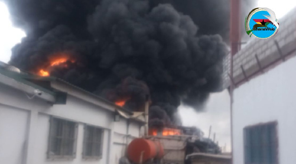 Roof caves in as fire engulfs Ghana Rubber Products Limited