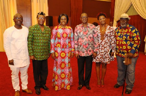 Minister of Tourism, Arts and Culture, Catherine Afeku with some Ghanaian actors