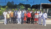 Group photo of ARII, Ghana Navy leadership and Doctors in the Gap