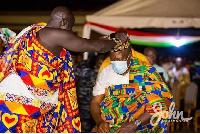 Nana Amponsah Gyan II conferring the chieftaincy title on John Dramani Mahama