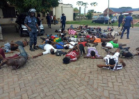Some of the protesters who were arrested by the police were reportedly forced to lie prostrate.