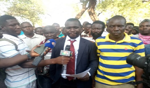 Bismarck Zumah presented the press statement at the mortuary on behalf of the mourners Friday