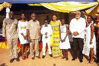 Former President Rawlings with Prof. Boachie-Adjei  and others