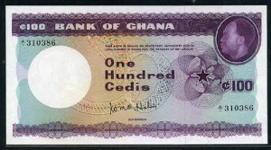The cedi note bore the portrait of the country's first President, Dr. Kwame Nkrumah