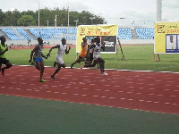 Edwin Gadayi leading the race in their event