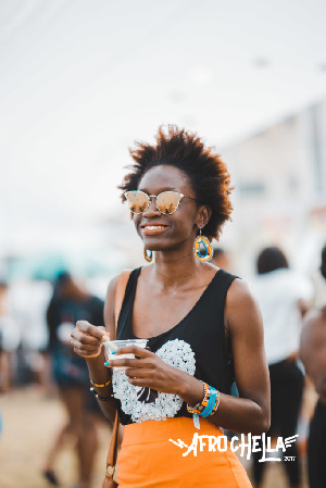 An Afrochella participant