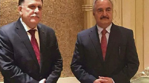 Libyan Rivals  Sarraj Haftar