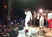 Shatta Wale performs at campaihn launch in Tamale