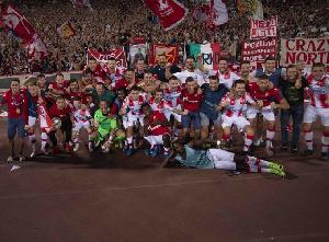 Richmond Boakye celebrating with Red Star Belgrade teammates